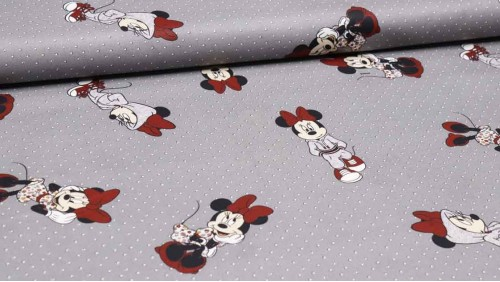 Algodón Minnie Disney Gris